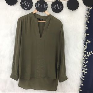 BR 100% Silk Olive Green Blouse-N15